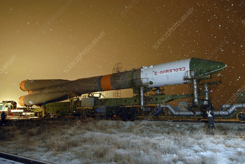 Soyuz rocket travelling to launchpad