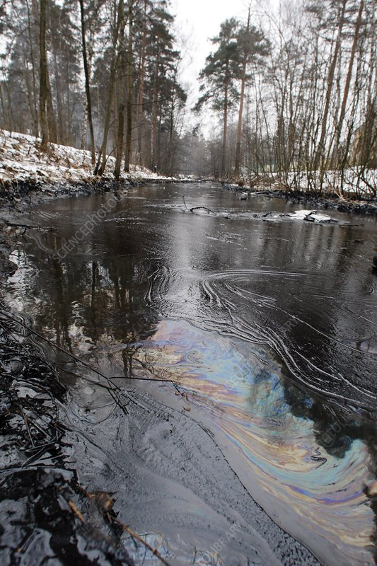 Fuel oil spill in a river
