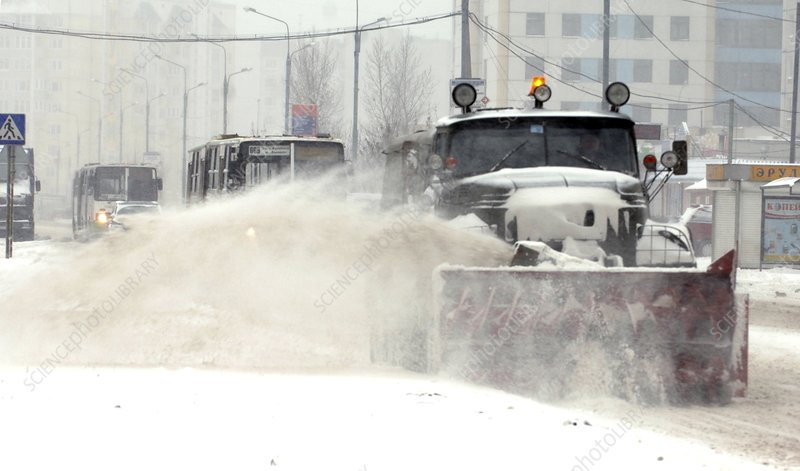 Clearing snow from a road