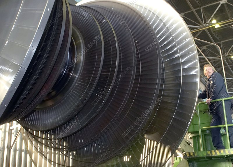 Turbine assembly at a factory
