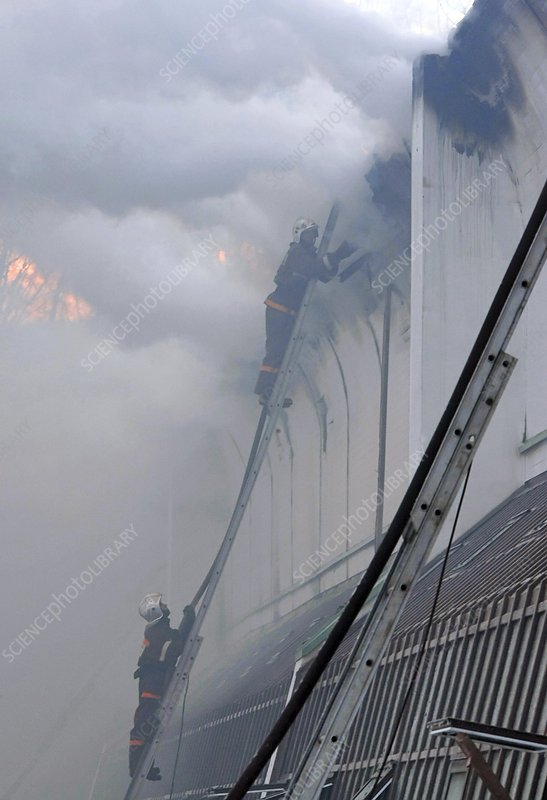 Firefighters at a museum fire