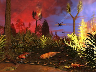 Prehistoric forest fire, artwork