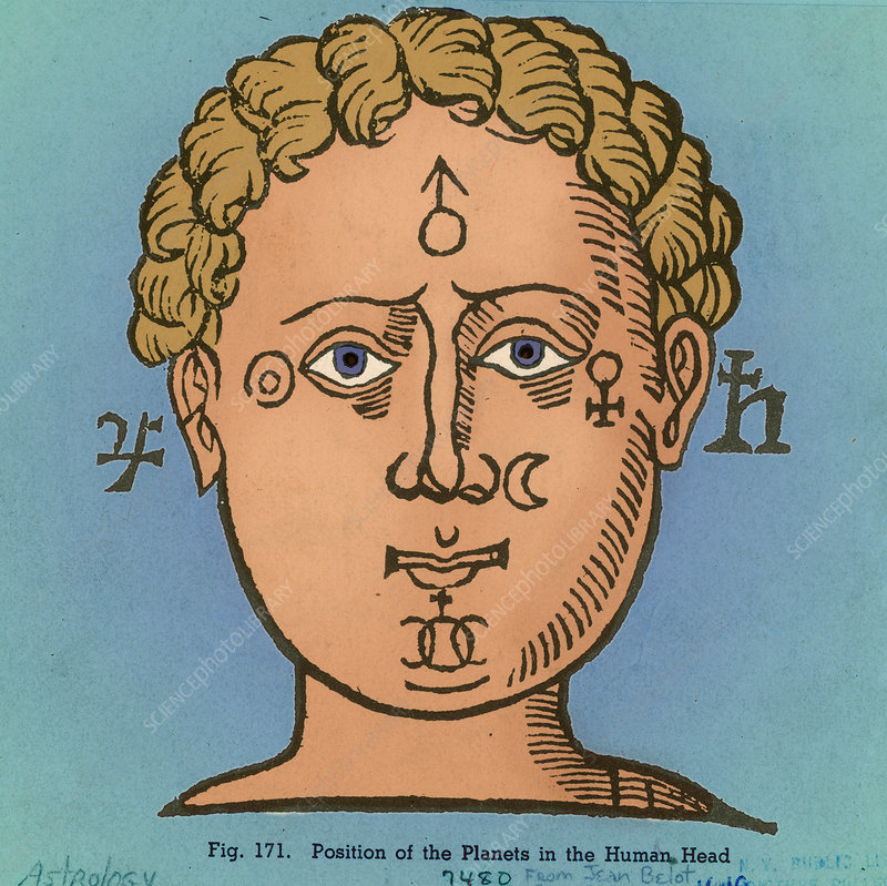 Position of the planets in the human head