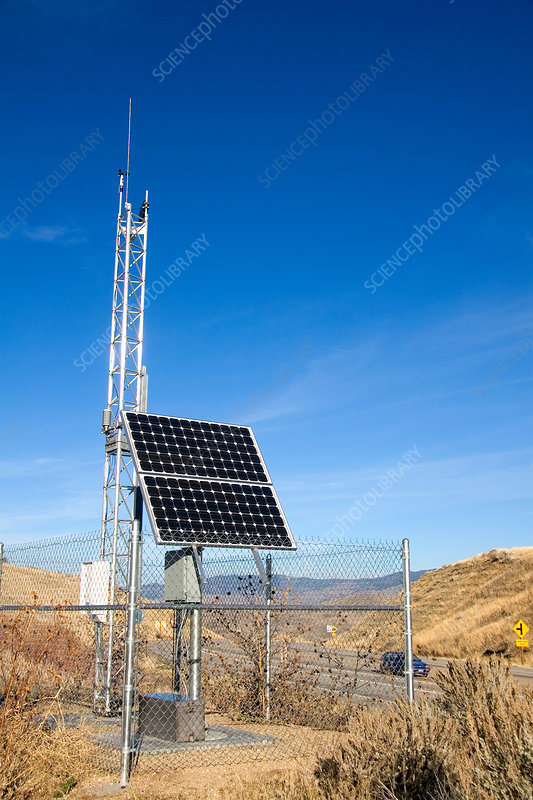 Weather station with solar panel