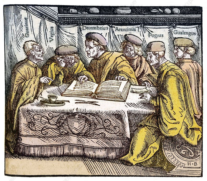 Humanist scholars in debate, 16th century
