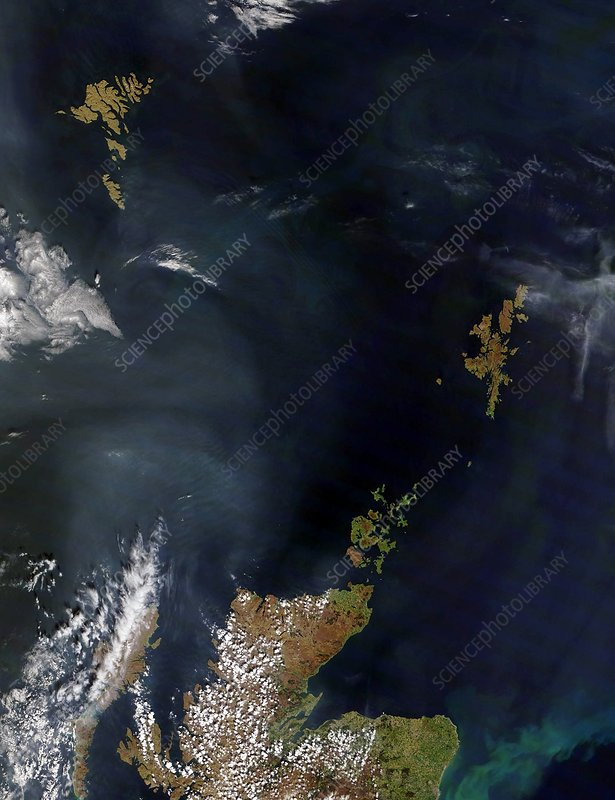 Faroes and Shetlands, satellite image