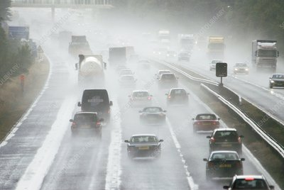 Motorway traffic in rain
