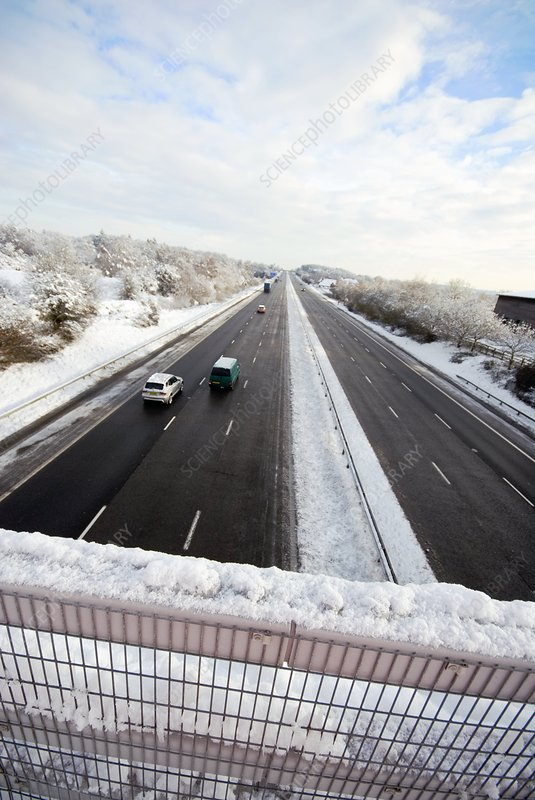 Motorway after heavy snowfall