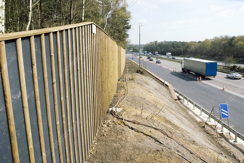 Motorway Noise Reduction Fence Stock Image C007 6925 Science Photo Library