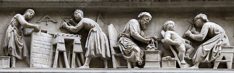 Medieval stone masons - Stock Image - C007/7580 - Science Photo Library