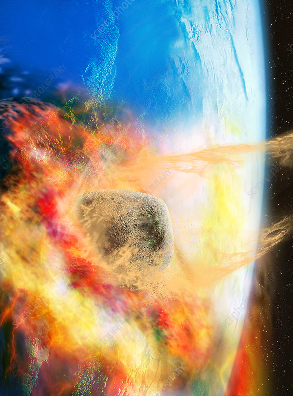 flaming asteroid hitting the earth - photo #23