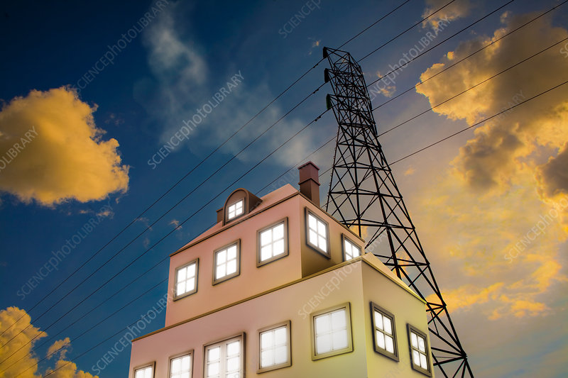 Power Lines and House - Stock Image C007/8103 - Science ...