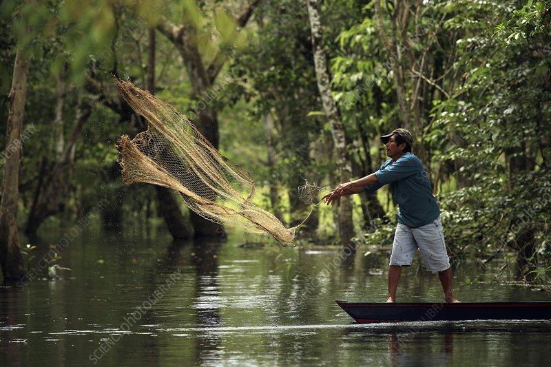 Throwing a fishing net amazonia stock image c008 2242 for Amazon fishing net