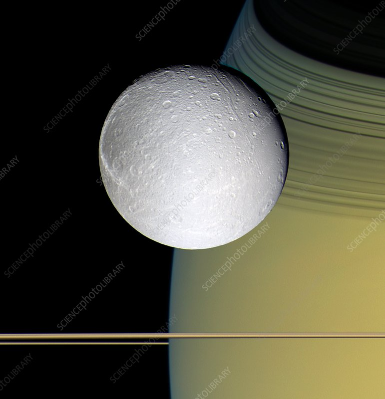 Saturn's moon Dione, Cassini image