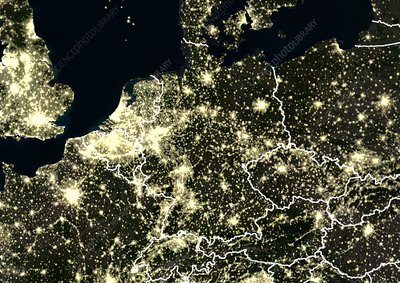 Central Europe at night, satellite image