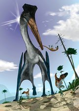 Azhdarchid pterosaur hunting, artwork