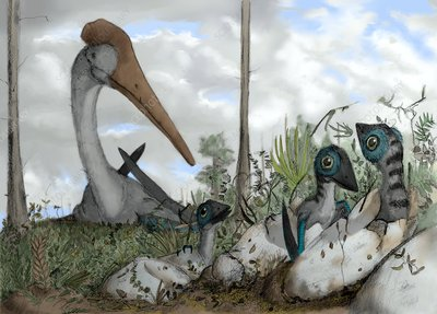 Azhdarchid pterosaur mother and chicks