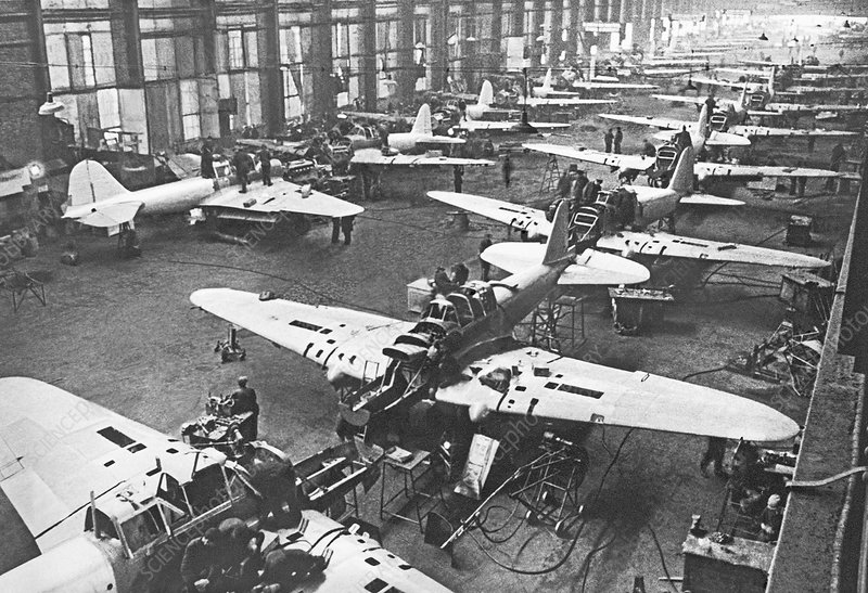 Soviet aircraft assembly line