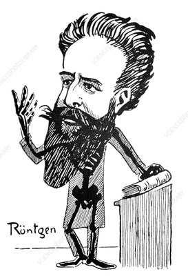 Caricature of Roentgen and X-rays