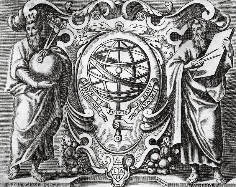 Ptolemy and Euclid, 17th century artwork