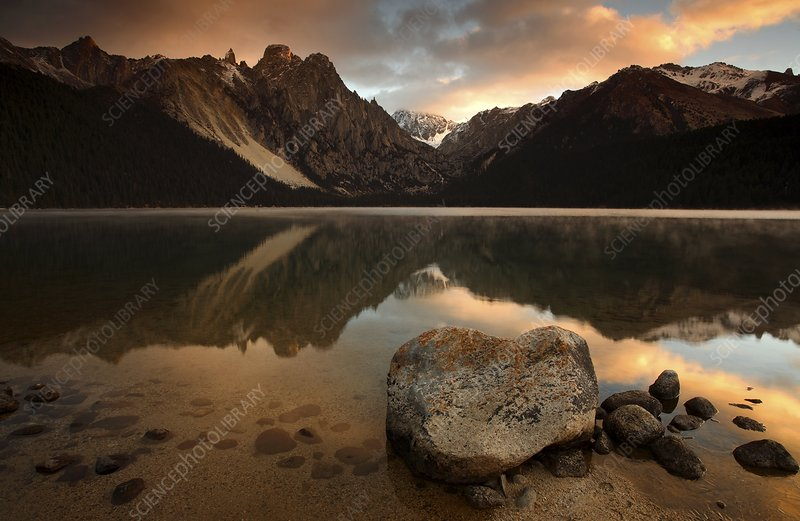 Mountain lake at sunrise