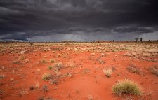 Storm clouds over desert