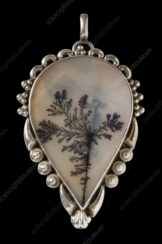 Mounted India dendritic agate