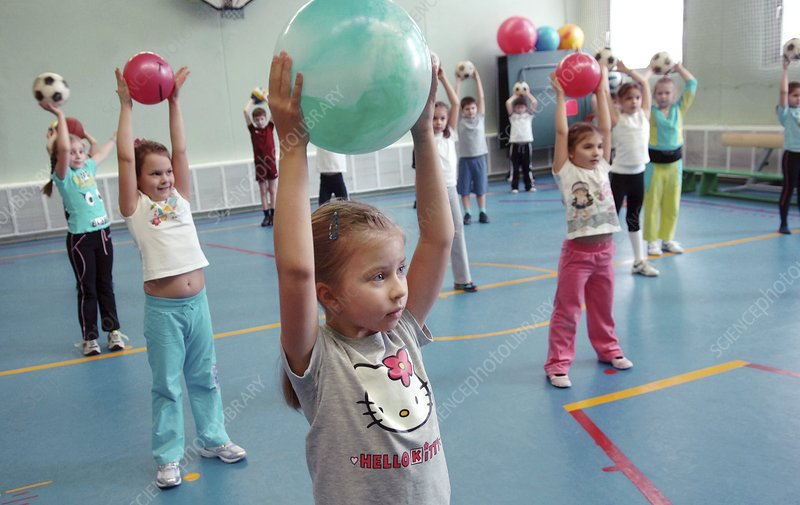 School children exercising
