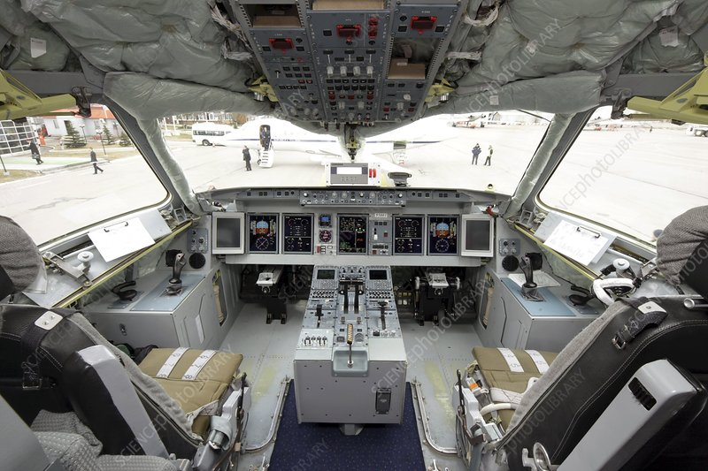Cockpit of Superjet 100 airliner