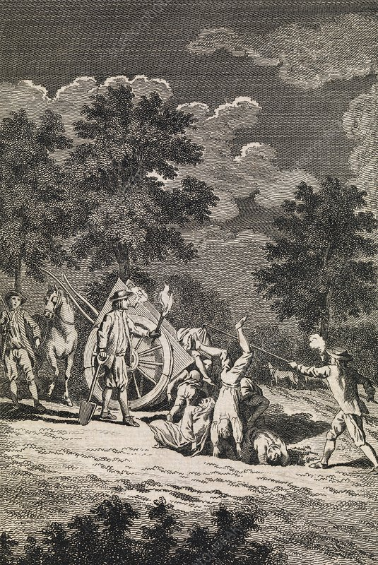 Burying plague victims, engraving