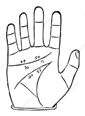 Diagram used in palmistry, 16th century