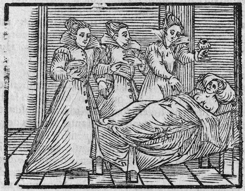 Witches giving potion to woman, 17th cent
