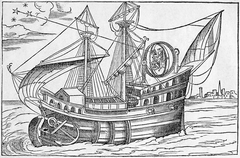 Ship with gimballed chair, 16th cent.