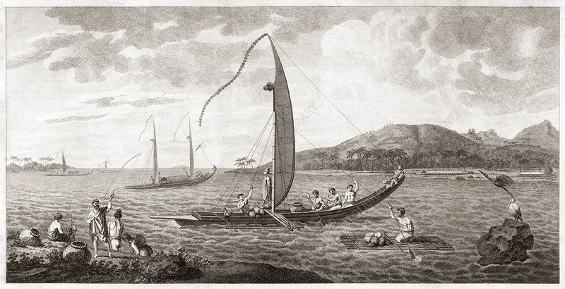 Tahiti seen from the sea, 18th century