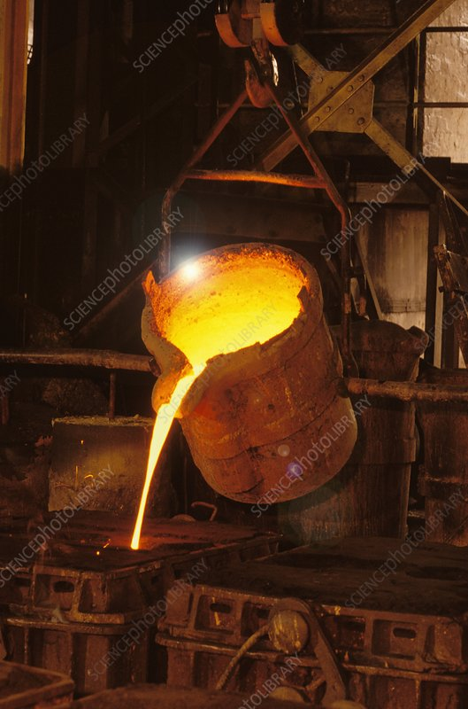 Pouring molten metal in foundry