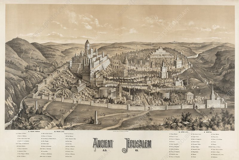 Ancient Jerusalem, 19th Century artwork