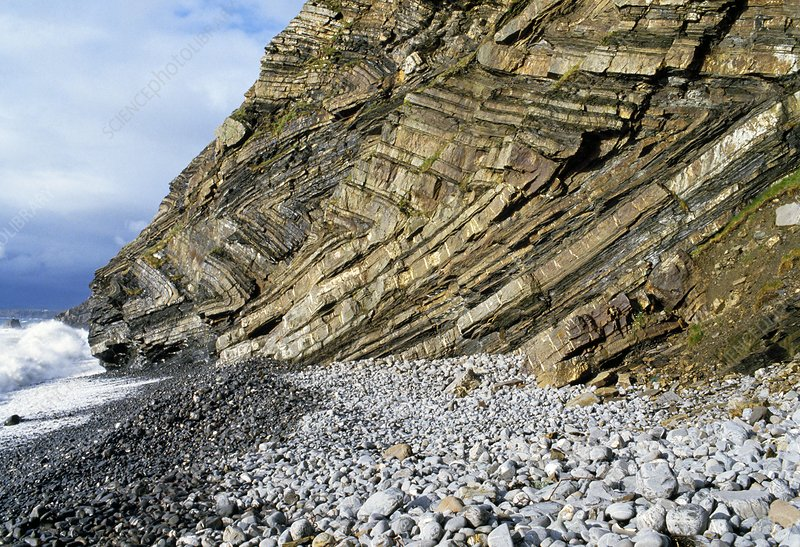 Cliff with folded rock strata