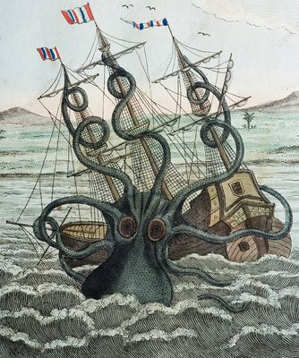 1815 Collosal Polypus octopus and ship