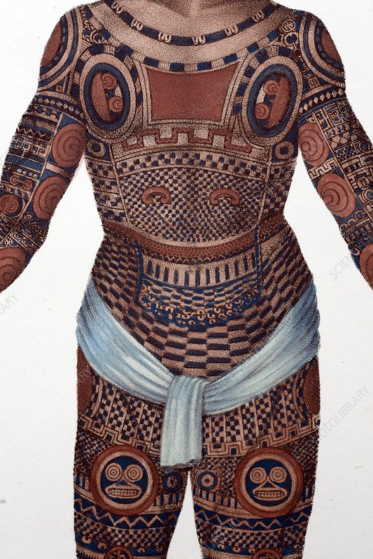 1827 Nukahiva Marquesas tattooed man