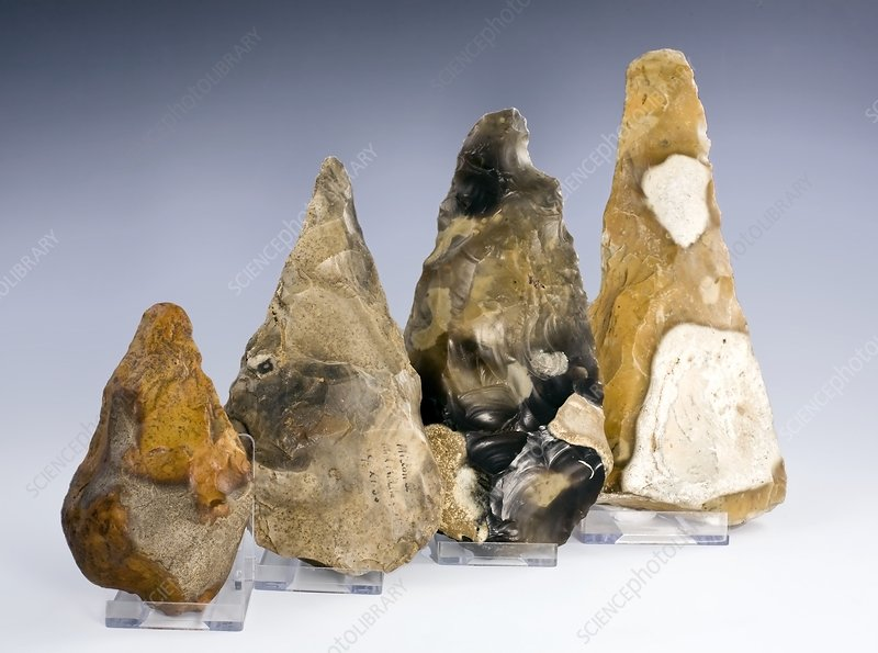 Four British Paleolithic handaxes