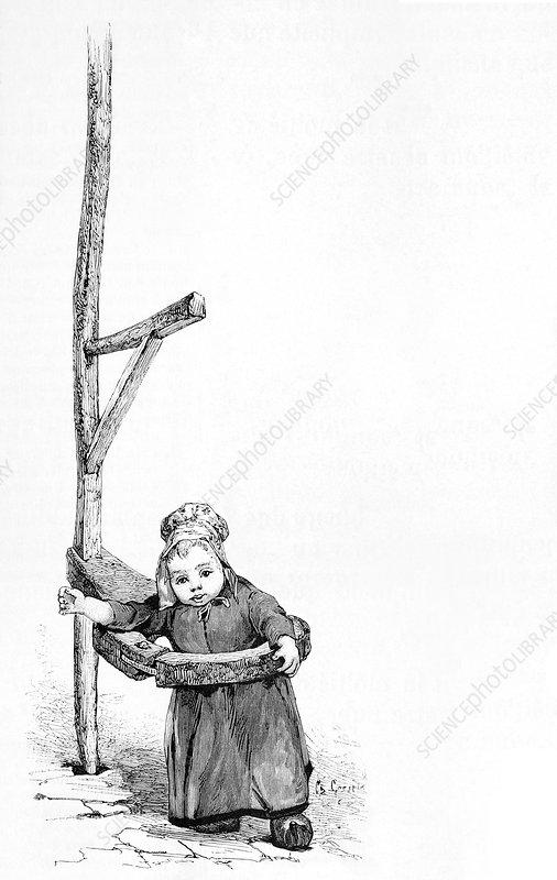 Toddler standing aid, artwork