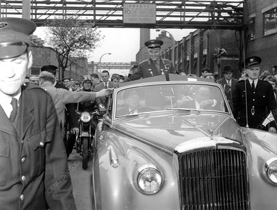 Yuri Gagarin driving through Manchester