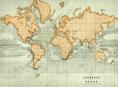 19th century chart of ocean currents