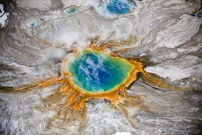 Grand Prismatic thermal springs aerial