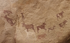Pictograph of Lion attack, Libya