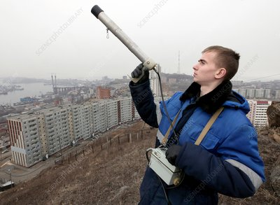 Measuring radiation levels, Russia