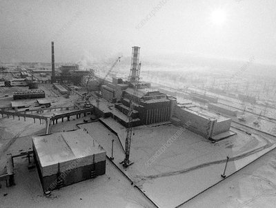 Chernobyl power station, aerial view
