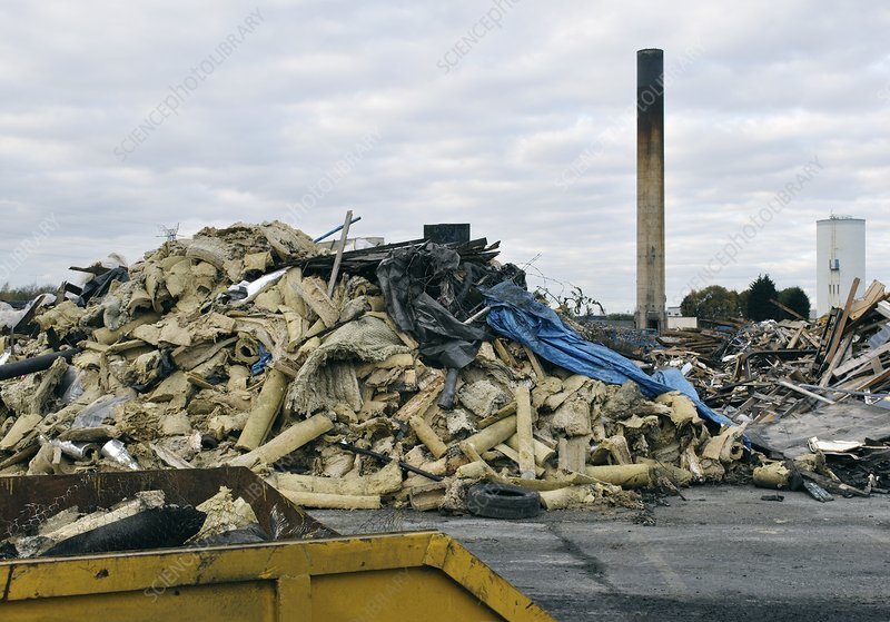 Demolition Of Science : Waste from demolition of chemical factory stock image