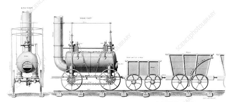 stephenson u0026 39 s locomotive  artwork - stock image c009  1098
