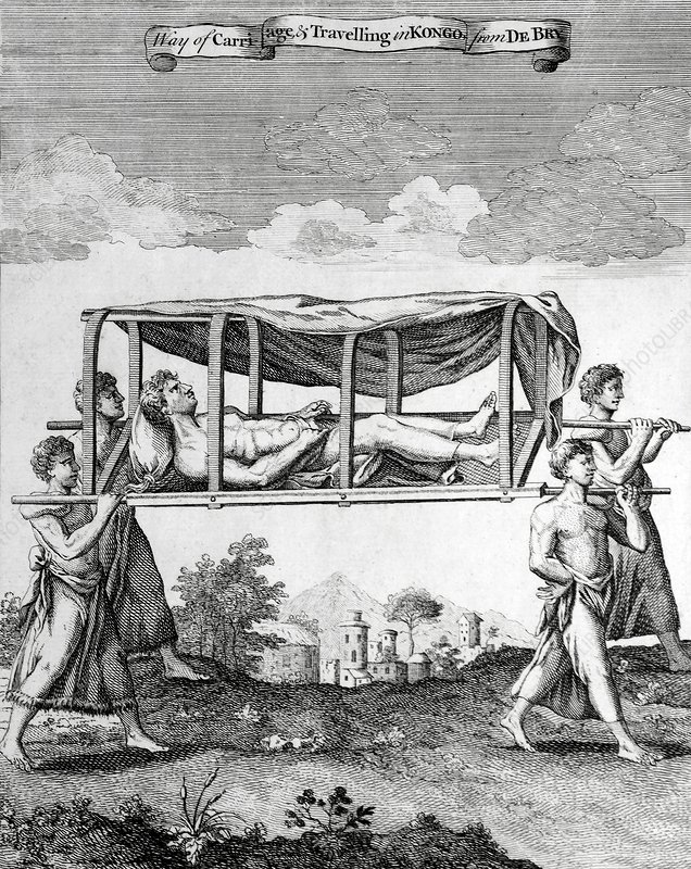 Man travelling in a palanquin